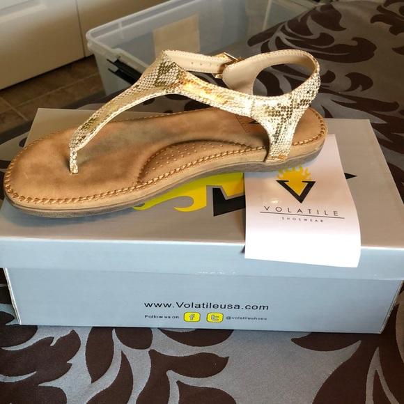 NWT Volatile Reece Python 🐍 Gold Sandal 8M